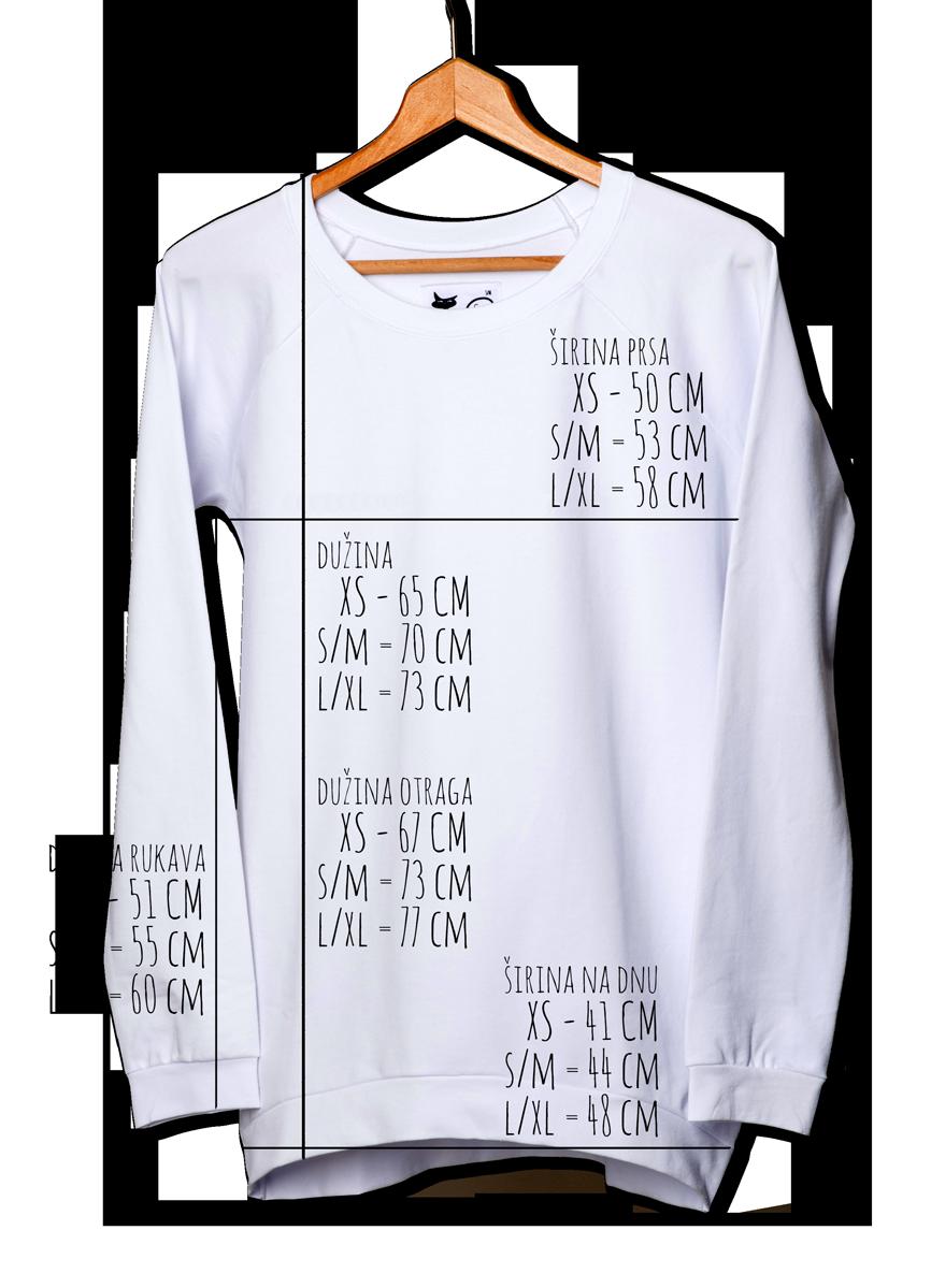 Dimenzije majica dugi rukavi