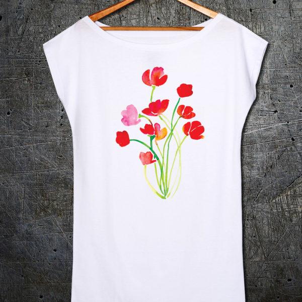 Red flowers tunika kratki rukavi